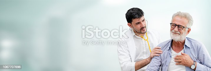 1064843136istockphoto Doctor checking patient health in hospital office. 1067707696