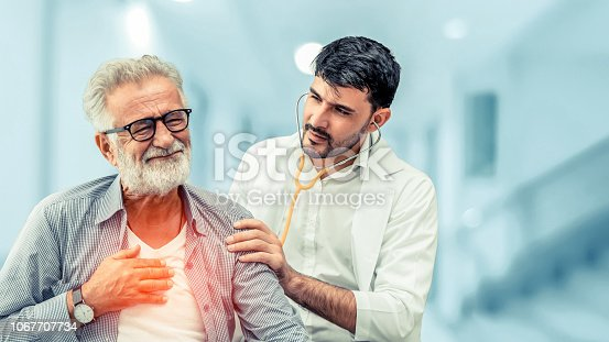1064843136istockphoto Doctor checking patient health in hospital office. 1067707734