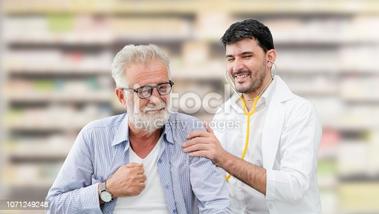 1064843136istockphoto Doctor checking patient health in hospital office. 1071249248