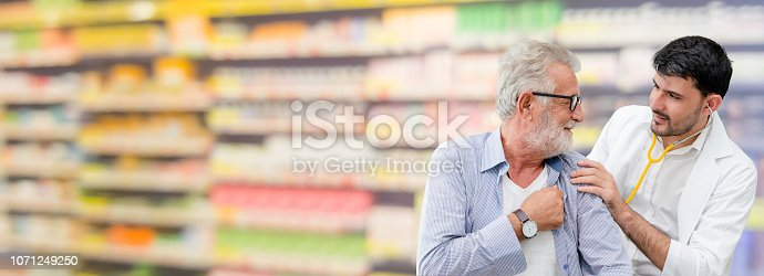 1064843136istockphoto Doctor checking patient health in hospital office. 1071249250