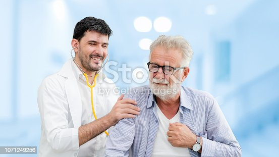 1064843136istockphoto Doctor checking patient health in hospital office. 1071249256