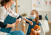 istock Doctor, child and mother wearing facemasks 1298520812