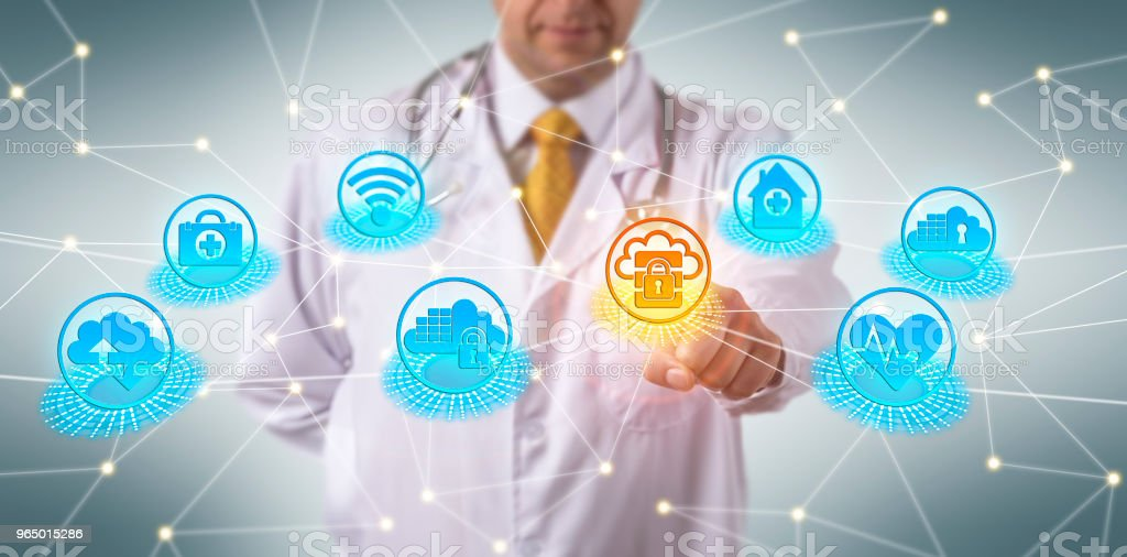 Doctor Complying With Cloud Security Regulations stock photo