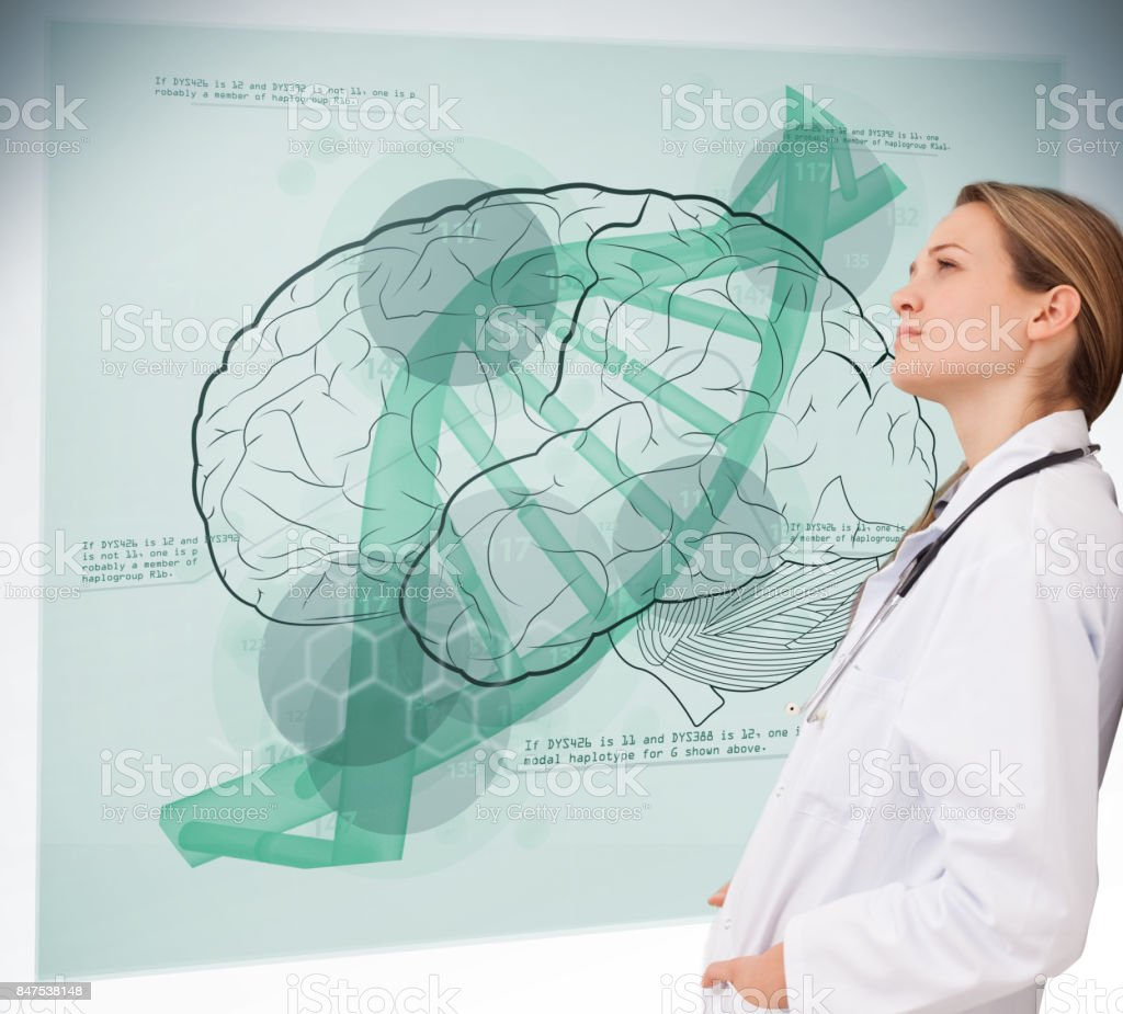 Doctor consulting brain interface stock photo
