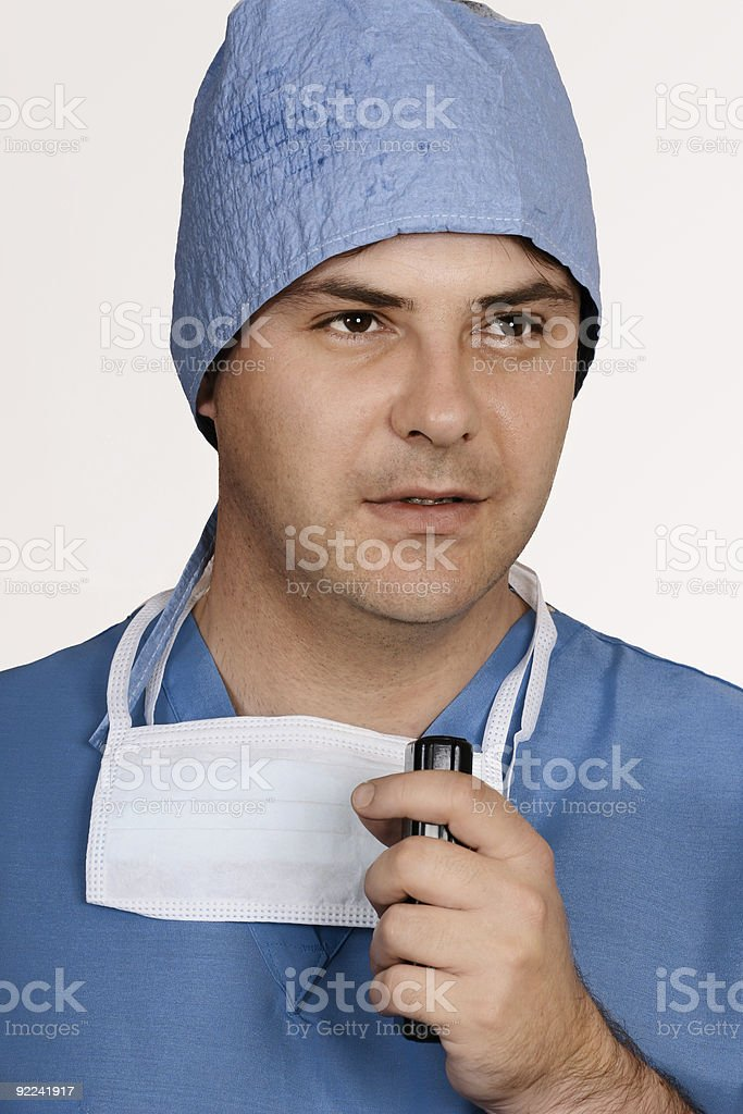Doctor dictating information stock photo