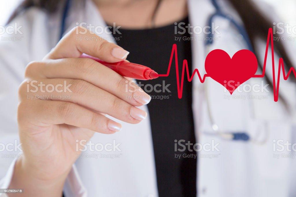 Doctor drawing ecg heartbeat chart stock photo