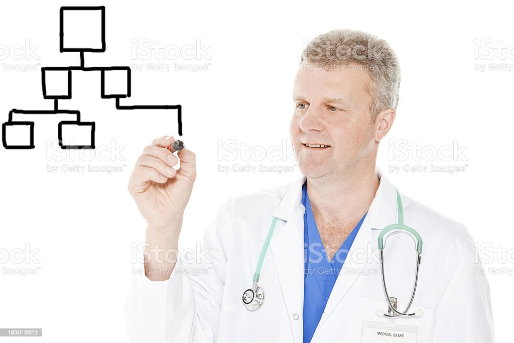 Doctor drawing graph royalty-free stock photo