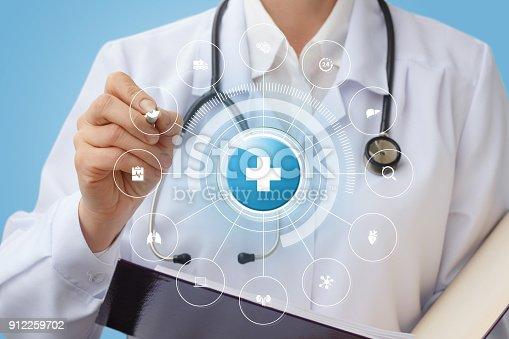 istock Doctor draws the structure of medical care . 912259702