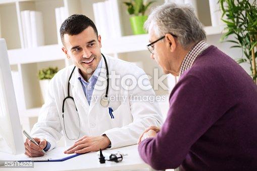 istock Doctor explaining prescription to senior patient 529114228