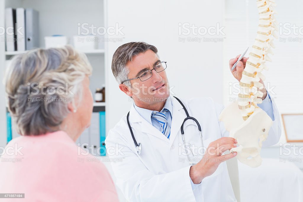 Doctor explaning anatomical spine to senior woman stock photo