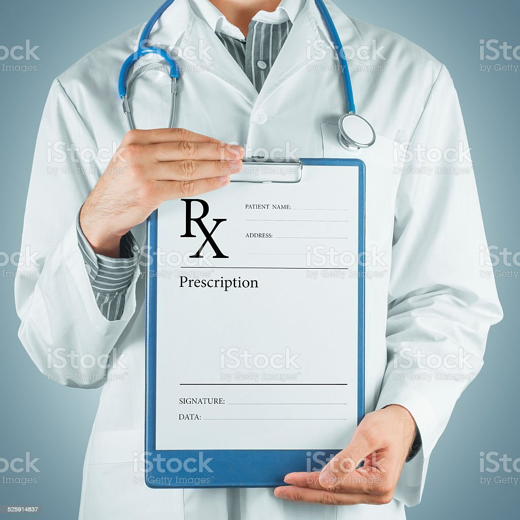 Doctor gives prescription paper stock photo