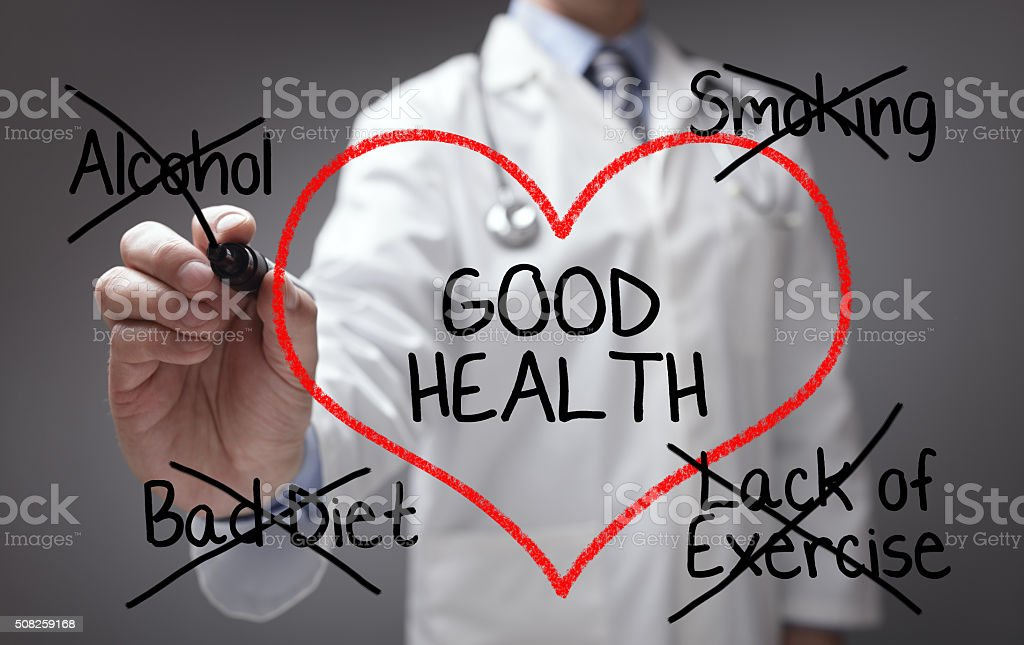 Doctor giving good health advice stock photo