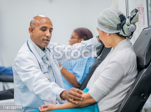 941439642 istock photo Doctor Giving IV Drip Treatment to Cancer Patient stock photo 1181263174