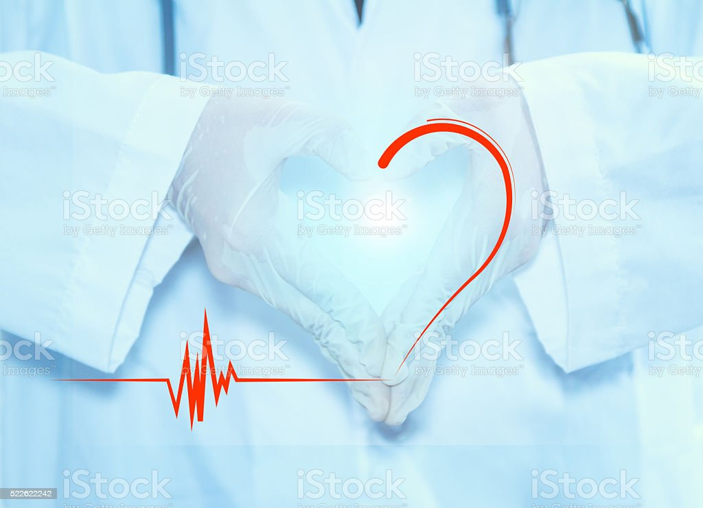 Doctor hand for heart. stock photo