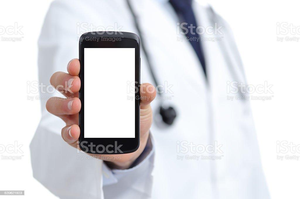 Médico mão mostrando uma tela em branco telefone inteligente aplicativo foto royalty-free