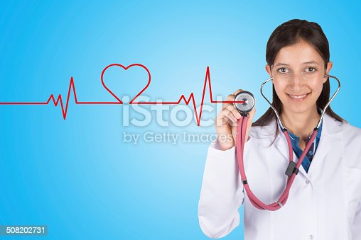 istock Doctor hand with stethoscope listening heart beat 508202731