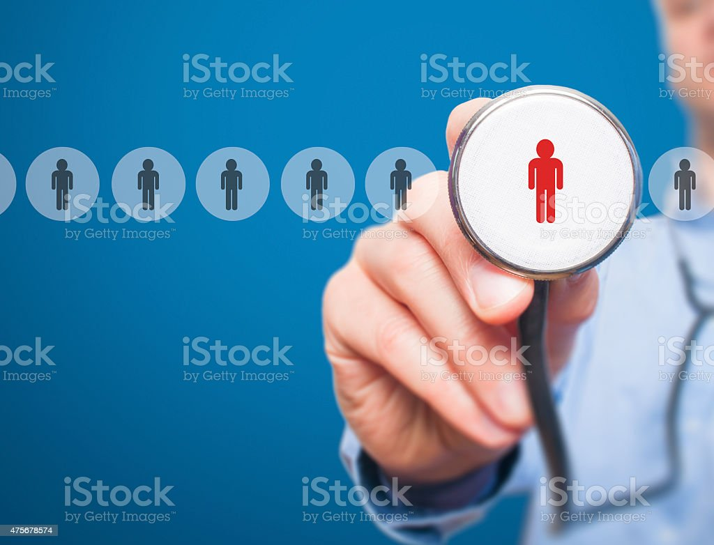 Doctor hand with stethoscope.Technology, and recruitment concept stock photo