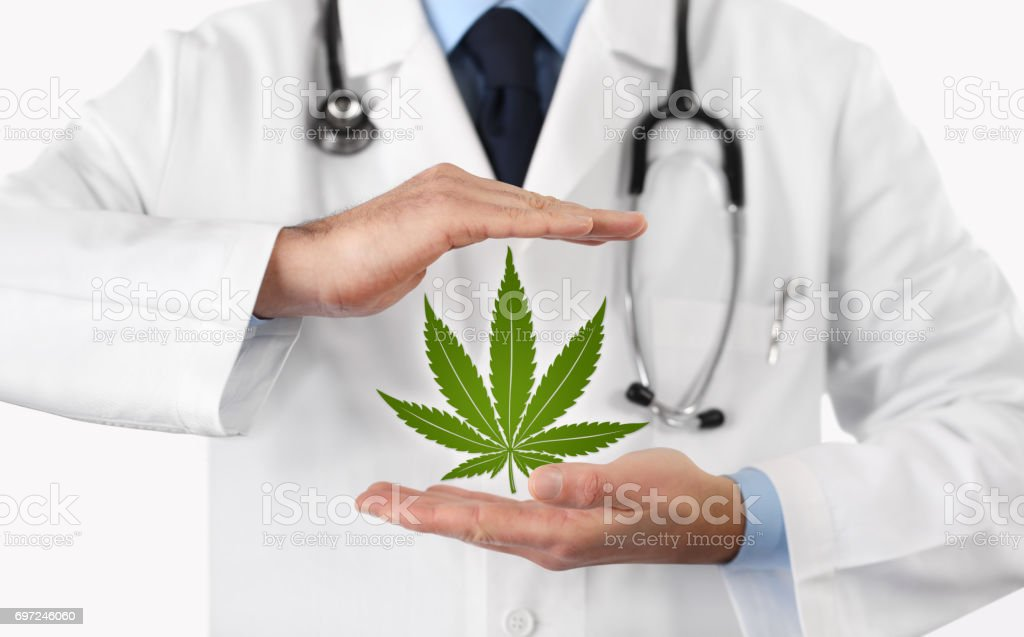 doctor hands with marijuana symbol medical concept stock photo