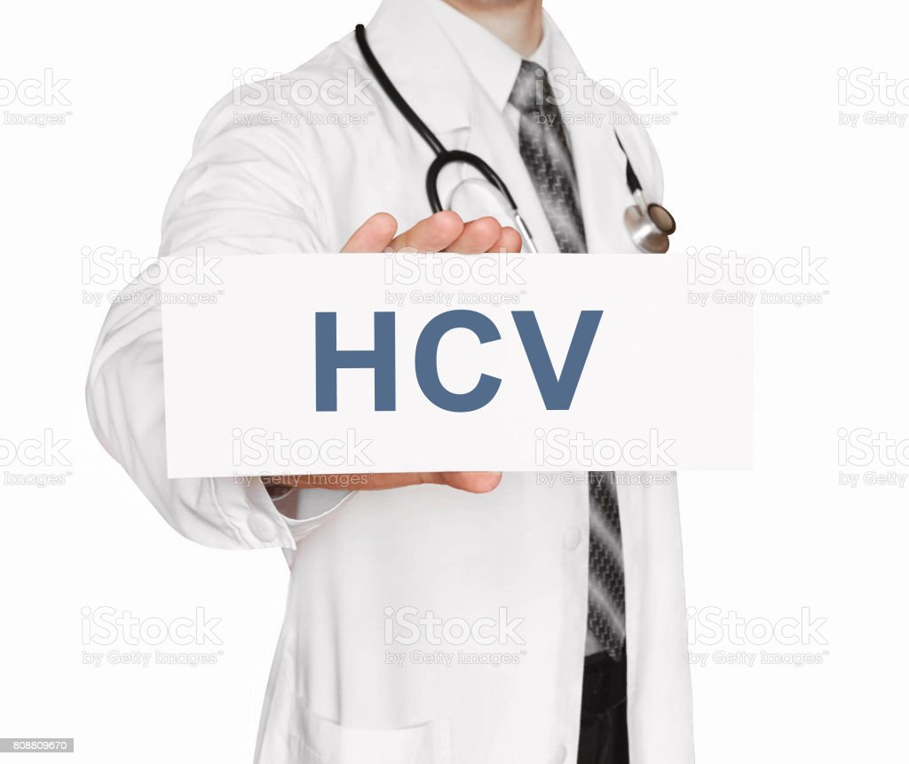 Doctor holding a card with HCV, medical concept stock photo