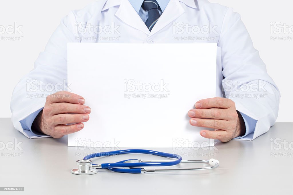Doctor Holding a Clear White Sheet stock photo