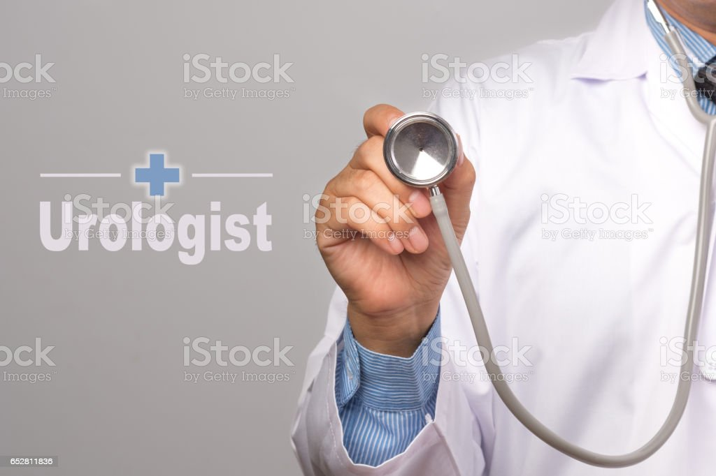 Doctor holding a stethoscope and word 'Urologist' on gray background. concept Healthy. stock photo