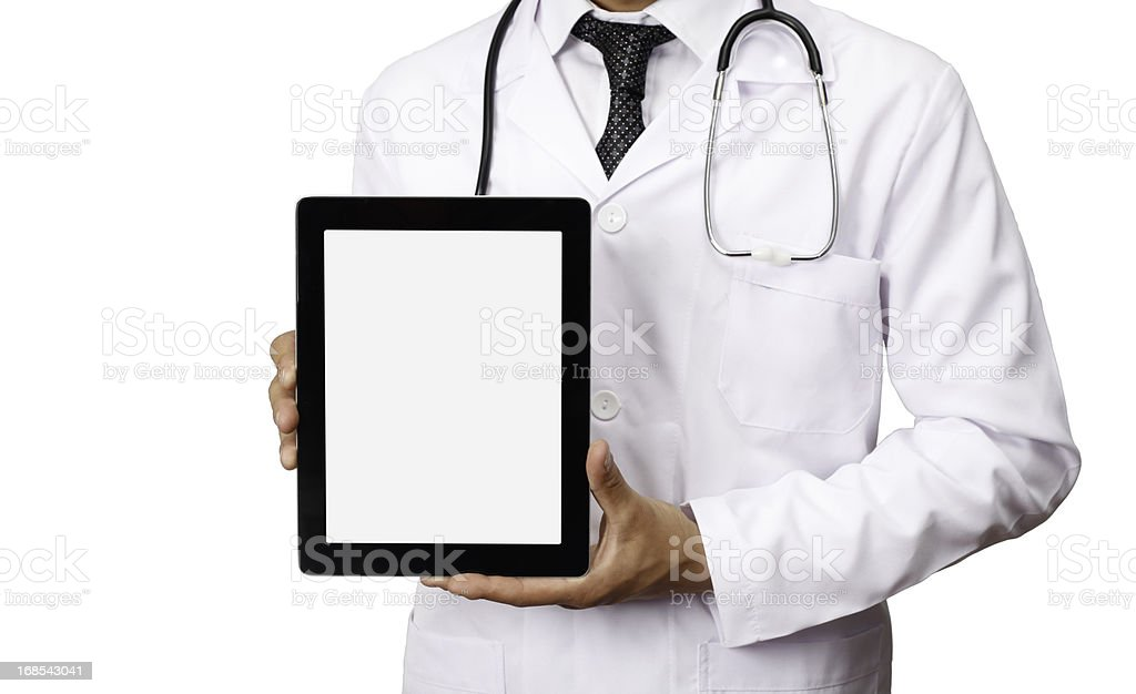 Doctor Holding Blank Digital Tablet royalty-free stock photo