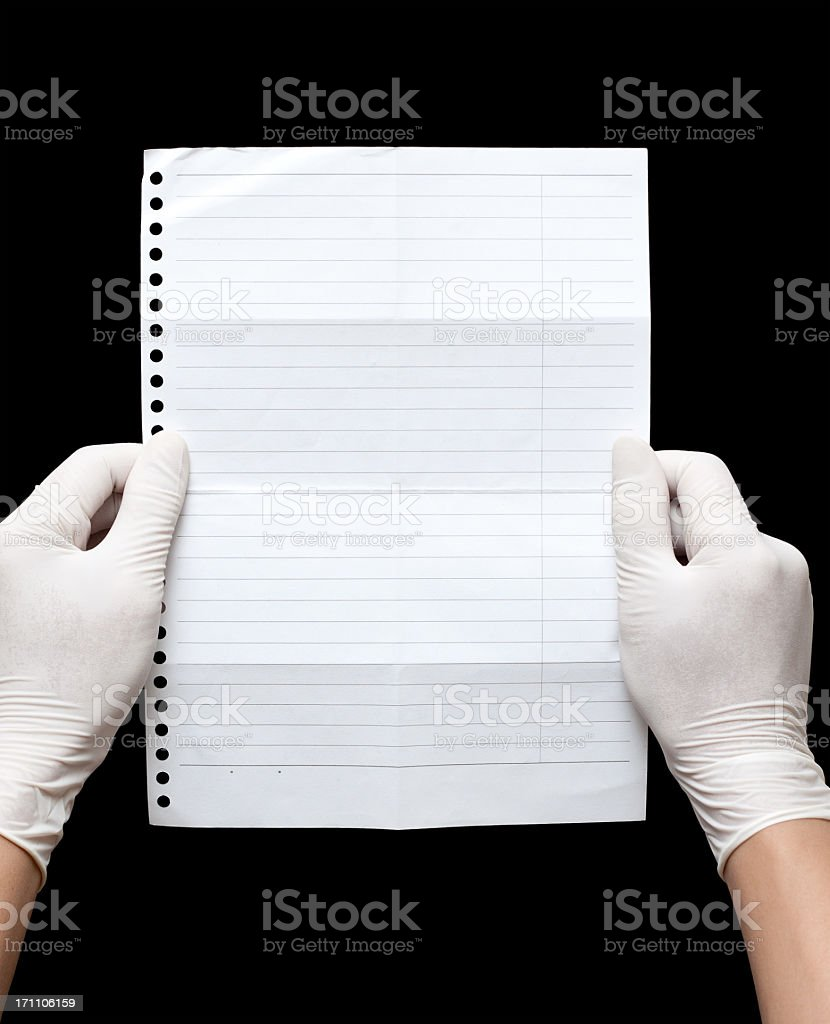 Doctor holding blank notebook page paper textured background royalty-free stock photo