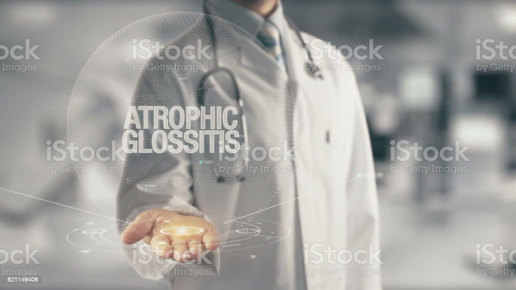Doctor holding in hand Atrophic Glossitis stock photo
