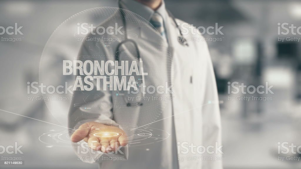Doctor holding in hand Bronchial Asthma stock photo