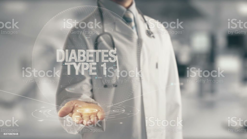 Doctor holding in hand Diabetes Type 1 stock photo
