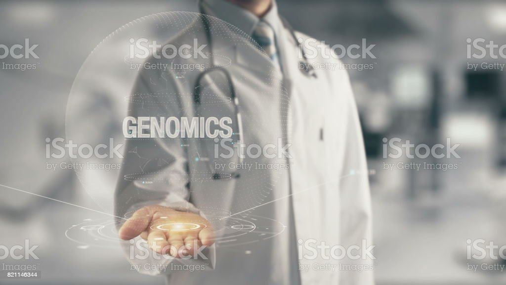 Doctor holding in hand Genomics stock photo