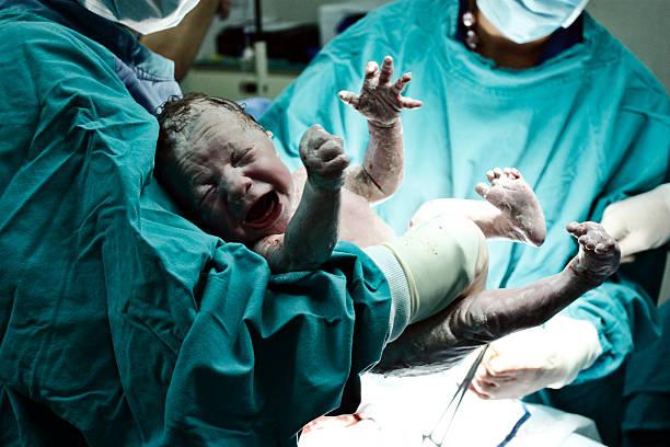 врач держит новорожденного - беременность и роды стоковые фото и изображения