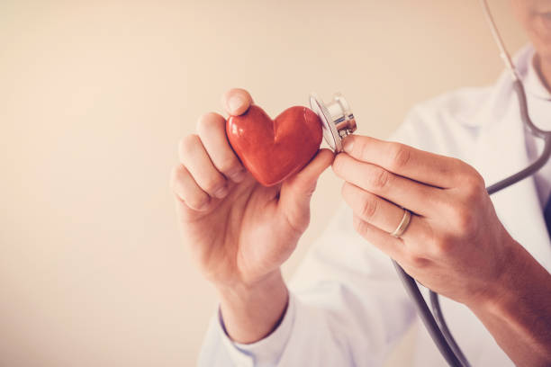 Doctor holding red heart with stethoscope, heart health,  health insurance concept stock photo