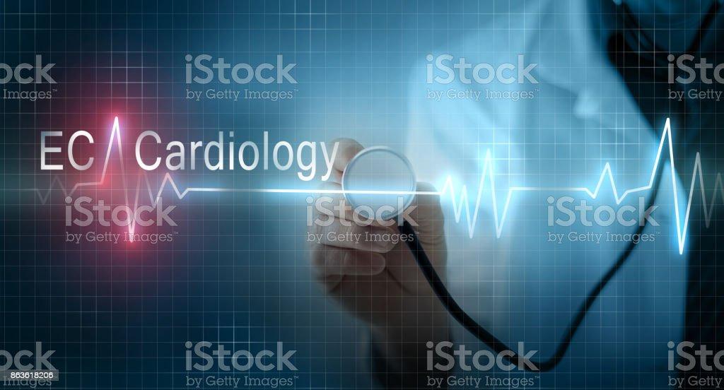 Doctor holding stethoscope on virtual EKG (electrocardiogram) graph monitor stock photo