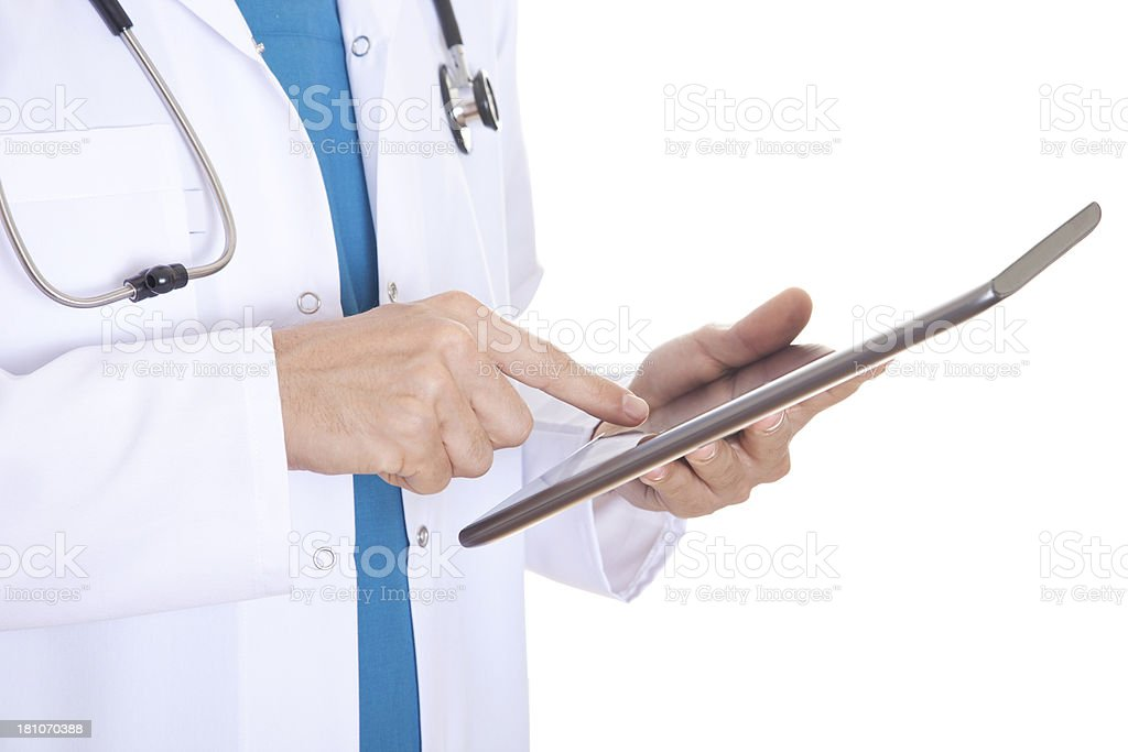 Doctor Holding Touchscreen Tablet royalty-free stock photo