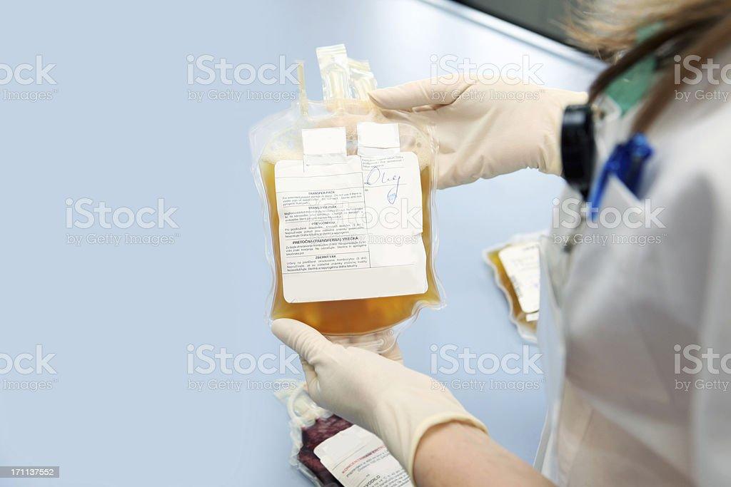Arzt in einem blood bank holding Warenkorb mit weißen Zellen – Foto