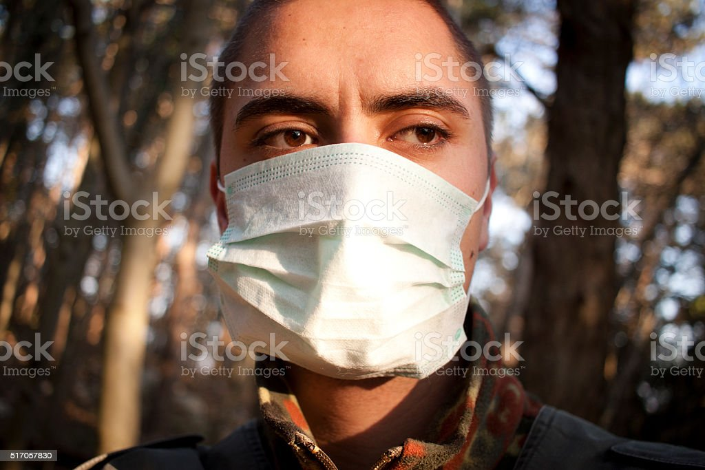 Doctor in a forest stock photo