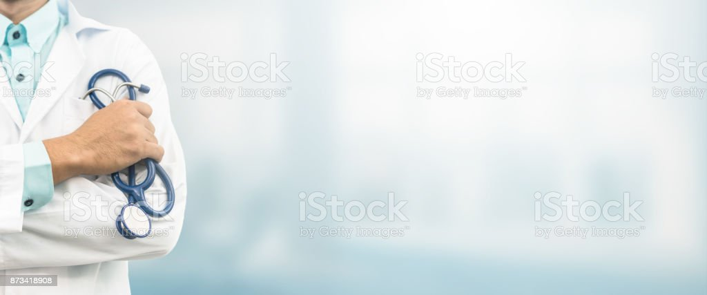 Doctor in hospital background with copy space stock photo