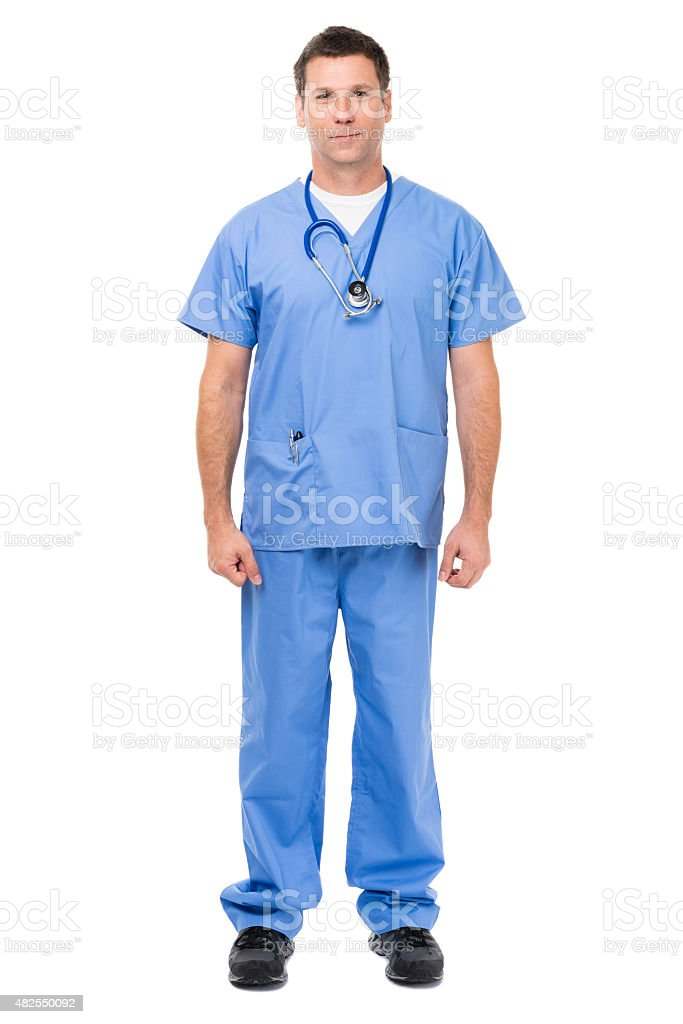 Doctor in scrubs on white stock photo