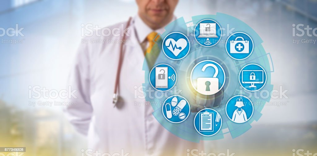 Doctor Initiating Health Information Exchange stock photo