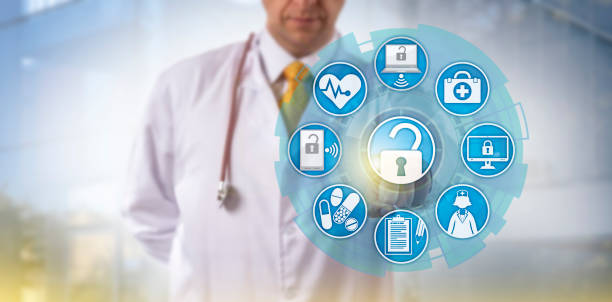 Doctor Initiating Health Information Exchange stock photo