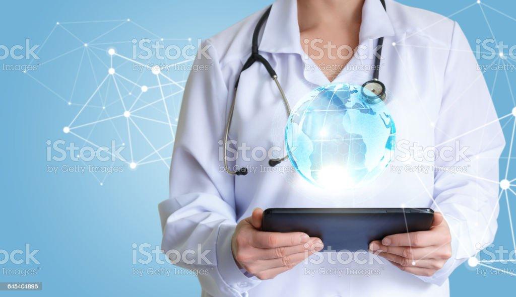 Doctor is in the network advises. stock photo