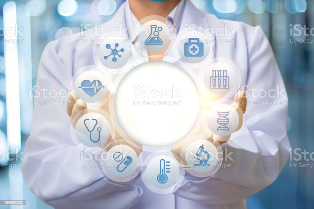 Doctor is the structure of the test patient. stock photo