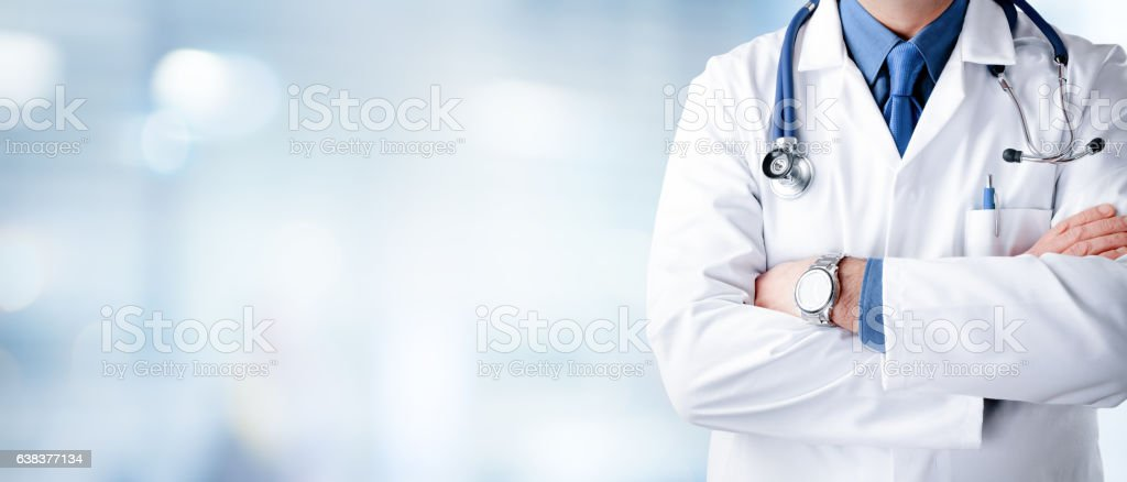 Doctor Man With Stethoscope In Hospital stock photo