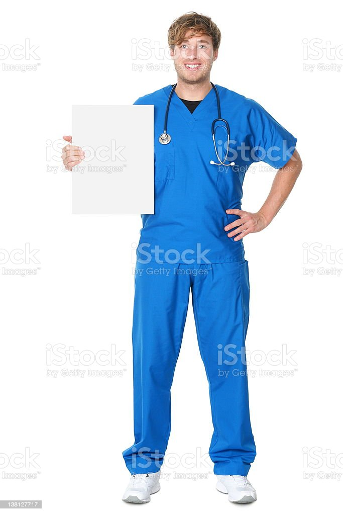 Doctor / nurse showing billboard sign royalty-free stock photo