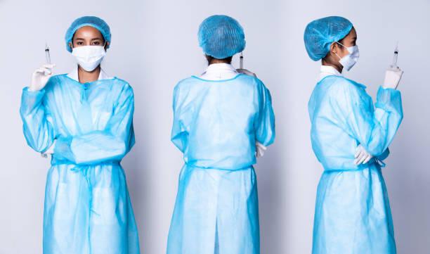 doctor nurse white blue shirt stethoscope gloves - ritratto 360 gradi foto e immagini stock