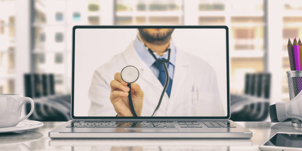 doctor on a laptop on an office desk. 3d illustration - telemedicine stock pictures, royalty-free photos & images