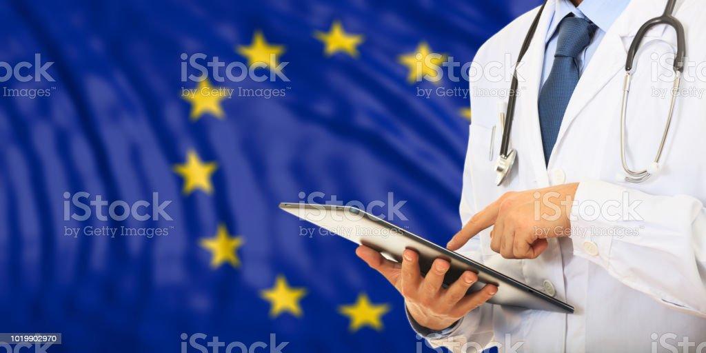 Doctor on EU flag background. 3d illustration stock photo