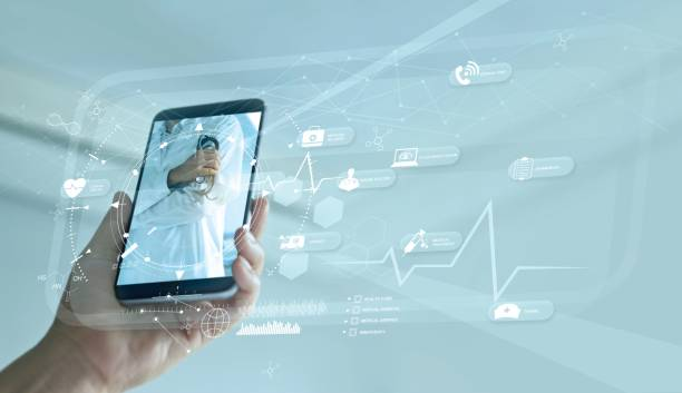 Doctor online and virtual hospital concept, Diagnostics and online medical consultation on smartphone, Communication with patient on network, Healthcare, Innovation and medical technology. stock photo