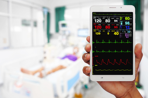istock Doctor online checking patient monitor by use Tablet and wifi technology in intensive care unit (ICU), Tablet telehealth concept, remote medical doctor monitoring 983798476